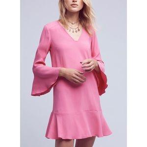 Anthropologie HD Paris Pink Bell Sleeve Dress